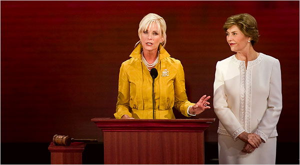 First Lady Laura Bush listened as Cindy McCain spoke at the 2008 Republican National Convention on Monday in St. Paul. (NYT)
