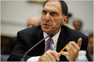 """The chief of the now-bankrupt Lehman Brothers, Richard S. Fuld Jr., told irate members of Congress that all his decisions """"were both prudent and appropriate"""" given the information he had at the time."""