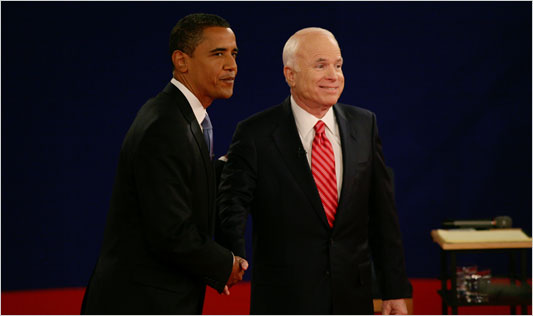 Senators Barack Obama and John McCain took the stage at Tuesday's debate in Nashville