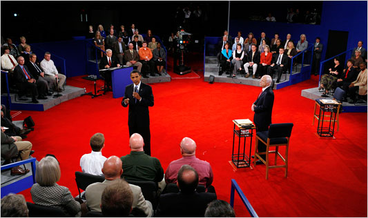 During Tuesday night's debate, Senators Barack Obama and John McCain engaged in a town-hall setting. (Rick Wilking/Reuters)