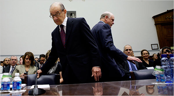 Greenspan faces tough questions, photo by Doug Mills for NYT