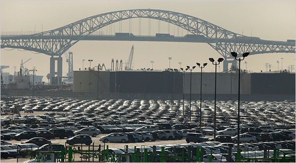 Jamie Rector for The New York Times  A lot at the Port of Long Beach may be used to park cars
