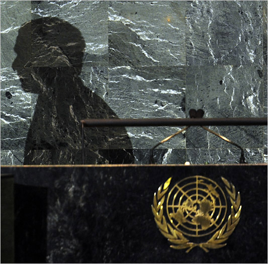 UNITED STATES, UNITED NATIONS : The shadow of US President George W. Bush is seen while he addresses the 63rd session of the United Nations General Assembly at the United Nations in New York September 23, 2008. (Timothy A. Clary/Agence France-Presse)