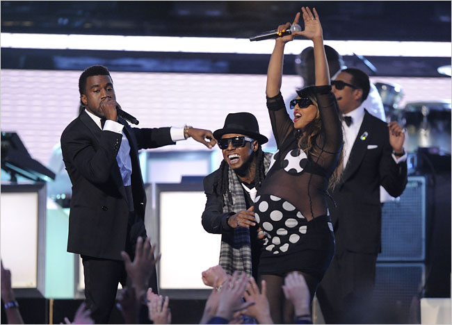 Kanye West, Lil Wayne, M.I.A. and Jay-Z performed at the 51st annual Grammy Awards
