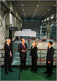 Secretary of State Hillary Clinton at the Taiyangong Thermal Plant in Beijing on Sunday.