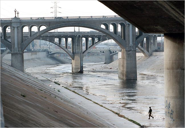 Plans have been drawn to turn the LA Rivers concrete bed into a green corridor. Source: NY Times