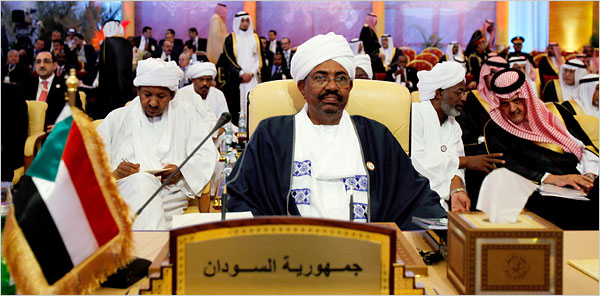 President Omar Hassan al-Bashir of Sudan at the Arab League summit in Doha, Qatar, on Monday