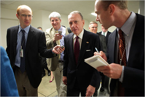 Senator Arlen Specter was surrounded by reporters on Tuesday after it was announced that he will switch parties.