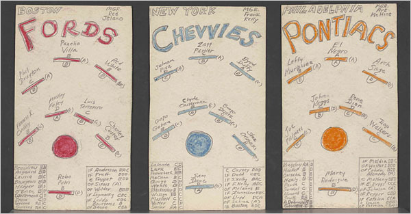 Three of Jack Kerouac's fantasy baseball team cards, circa 1953-56. New York Public Library, Berg Collection, Jack Kerouac Archive