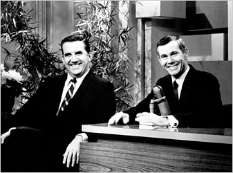"Ed McMahon with Johnny Carson on the set of ""The Tonight Show."""