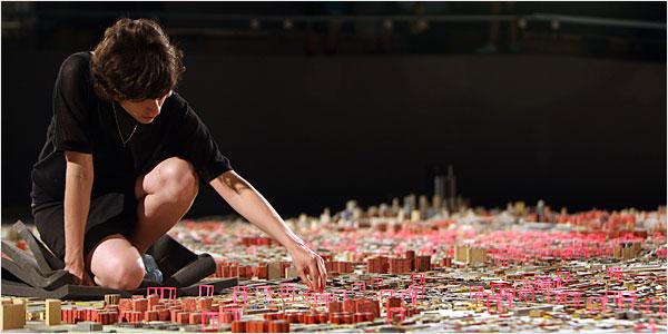 Curator Larissa Harris at work on the Panorama.