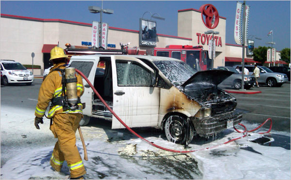 A 1995 Ford Aerostar caught fire last week after its owner took it to a Toyota dealership in El Monte, Calif., to take part in the cash-for-clunkers program. No one was hurt, and the owner drove away in a 2010 Prius.