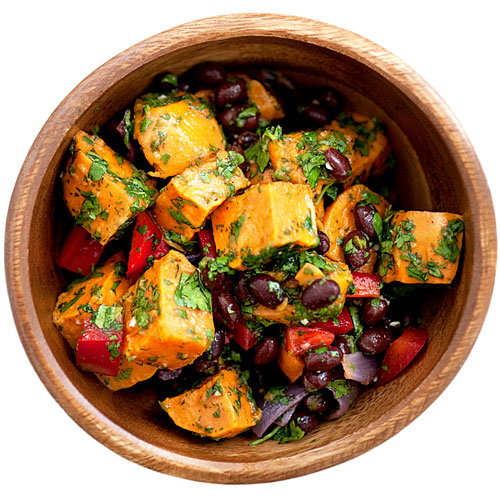 sweet potato, black beans, healthy potato salad