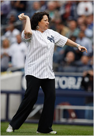 Justice Sotomayor throws the first pitch at a Yankees-Red Sox game recently (Courtesy:  NYT)