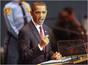 President Barack Obama speaking at the United Nations on September 23.