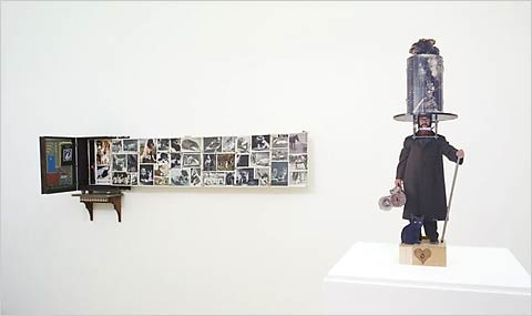 "Two installations at the ICA exhibit, ""Das sögenannte böse,"" 2007 (background), and ""Chapeau!,"" 1989 (foreground), both by Patrick Van Caeckenbergh."