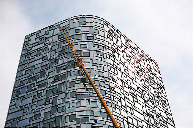 Jean Nouvel's new apartment building is at 100 11th Avenue, at 19th Street, in Chelsea.