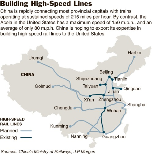 Current map of high-speed rail in China