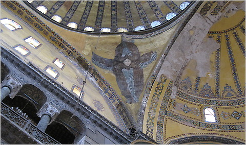 The newly revealed mosaic angel at the Hagia Sophia in  Istanbul.