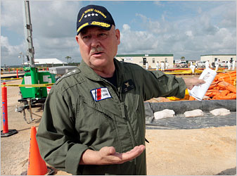 Adm. Thad Allen of the Coast Guard, who is in charge of the federal response to the oil spill, at the staging and decontamination area in Theodore, Ala., on Saturday.