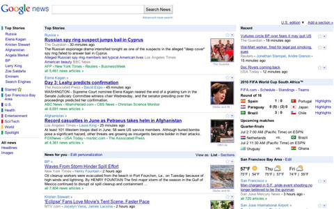 New Google News design