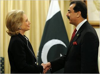Secretary of State Hillary Clinton met with Prime Minister Yousaf Raza Gillani of Pakistan in Islamabad.