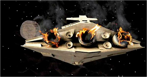 flaming empiral ship from Star Wars
