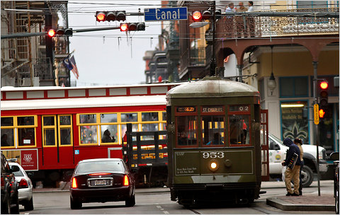 Streetcars in downtown New Orleans.