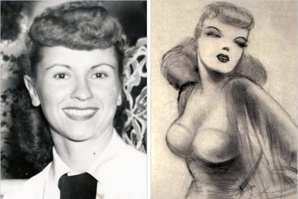 Courtesy of Laura Siegel Larson Joanne Siegel in the 1940s, left, and in a drawing by Joe Shuster, who with Ms. Siegel's husband, Jerry, created Superman.