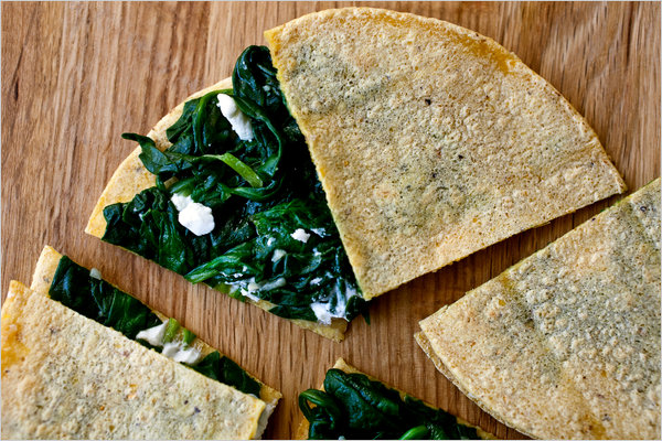 Spinach and Chevre Quesadillas