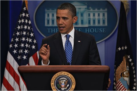 "President Obama speaking in the Brady Briefing Room on Thursday after a meeting with the House speaker, John A. Boehner, and Senator Harry Reid of Nevada, the majority leader, on the budget impasse.<br />""/><span480"