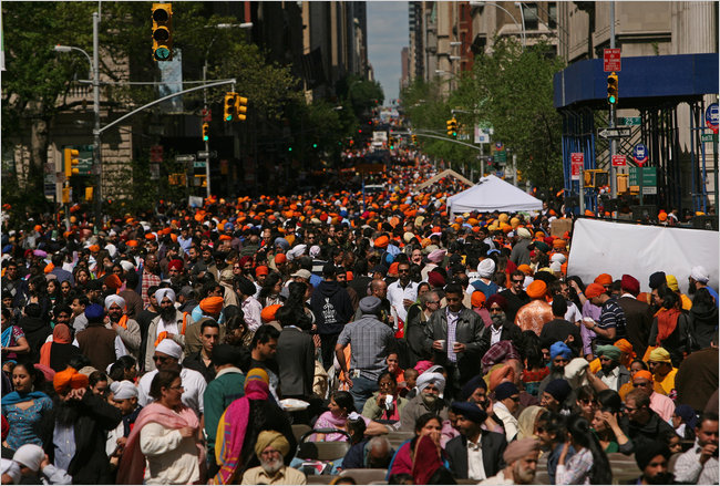 "Sikhs attending the 2011 ""Sikh Day Parade"" in New York (source: New York Times)"