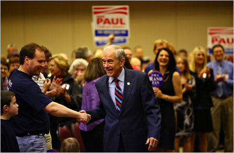 Representative Ron Paul of Texas campaigns with his son, Rand Paul for the Senate in Kentucky on October 2, 2010.