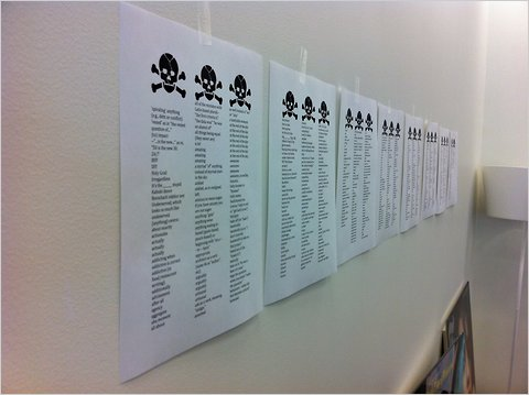 A list of your verboten words in the office of Hugo Lindgren, editor in chief.