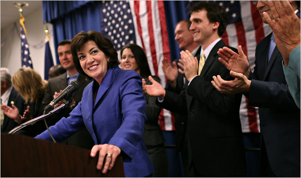 Kathy Hochul on election night, May 24, 2011 - New York Times photo by Michael Appleton