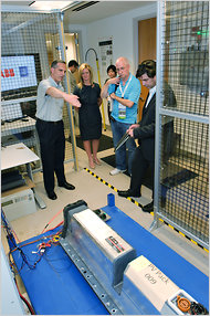 The prototype secondary-use unit developed by G.M. and ABB is shown to journalists on Wednesday.