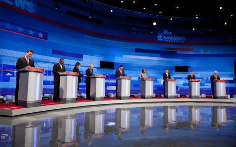 Presidential candidates took the stage for the second Republican debate in Ames, Iowa.