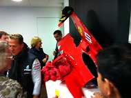 Michael Schumacher celebrates 20 years in Formula One at the Spa-Francorchamps circuit last weekend.