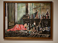 "Bob Dylan's painting ""Opium,"" on view at the Gagosian Gallery in Manhattan."