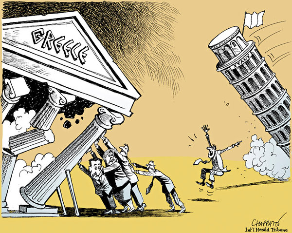Europe has a choice. Controlled devaluation of the Euro or a disorderly retreat. |  Cartoon By Patrick Chappatte  |  Published: November 10, 2011 |  Source & courtesy - nytimes.com  |  Click for a larger image.