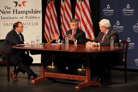 Jon M. Huntsman Jr., center, and Newt Gingrich covered only half of the 10 topics they planned to discuss during their 90 minute Lincoln-Douglas-style debate.