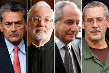 From left, Rajat K. Gupta, Judge Jed S. Rakoff, Bernard L. Madoff and R. Allen Stanford.
