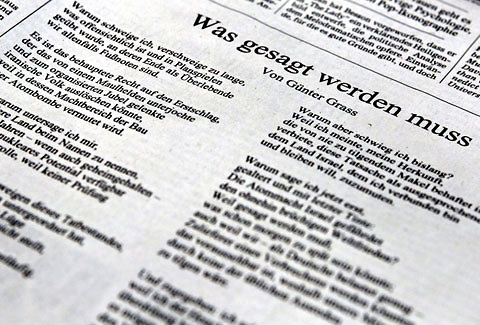 A screenshot from a German news site showing a copy of a controversial new poem by Günter Grass.