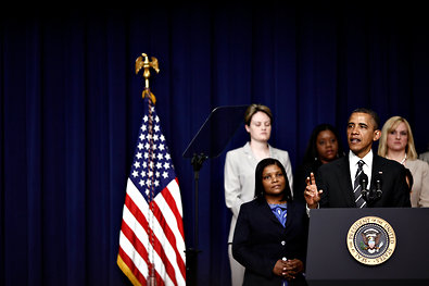 President Obama speaking on Friday at the White House Forum on Women and the Economy in Washington.