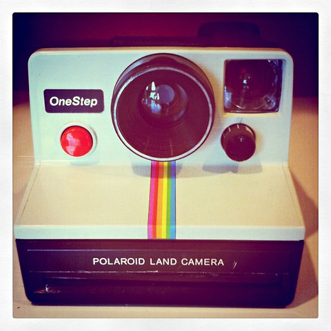The Polaroid Land camera in the Instagram offices.