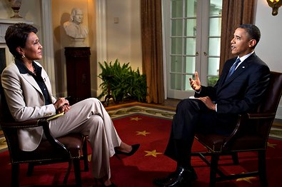 "President Obama spoke with Robin Roberts of ABC's ""Good Morning America"" in the Cabinet Room of the White House during an interview on Wednesday."