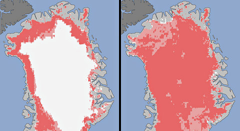 Extent of surface melt over Greenland's ice sheet on July 8, 2012 (left), and July 12, 2012 (right). Measurements from three satellites showed that on July 8, about 40 percent of the ice sheet had undergone thawing at or near the surface. In just a few days, the melting had dramatically accelerated and an estimated 97 percent of the ice sheet surface had thawed by July 12.