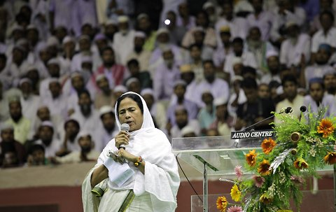 West Bengal Chief Minister Mamata Banerjee addressing a gathering of Muslim community members in Kolkata, West Bengal in this April 3, 2012 file photo.