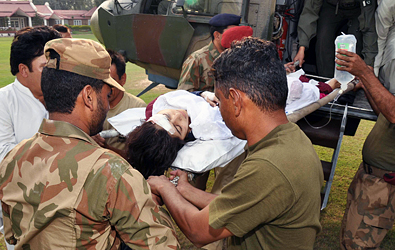 Pakistani soldiers movedMalala Yousafzai to an army hospital in Peshawar after Pakistani Taliban militants attacked her in the Swat Valley last year.