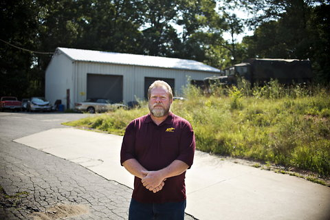 Gary L. Miller of White Marsh, Md., near the garage where his neighbor, Rodney R. Hailey, claimed to be running a biodiesel operation. No production existed, and Mr. Hailey is now awaiting sentencing on a fraud conviction.